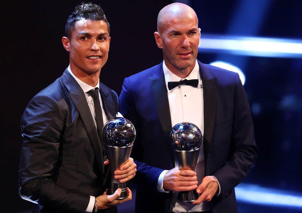 Ronaldo And Zidane Pose With Their Prizes