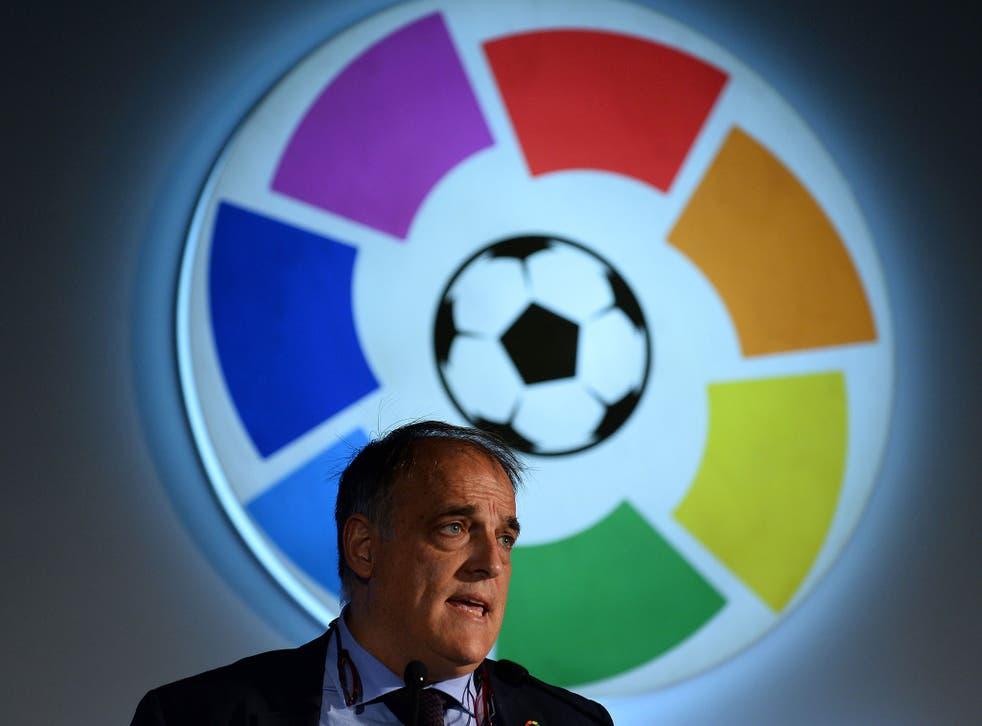 Javier Tebas, president of Spanish football league La Liga, speaks during a promotional event in New Delhi