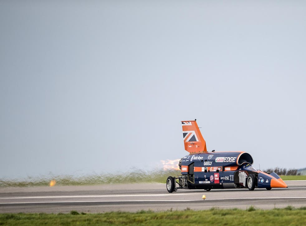 The Bloodhound supersonic car, driven by Royal Air Force Wing Commander Andy Green, undergoes a test run at the airport on October 26, 2017 in Newquay, England