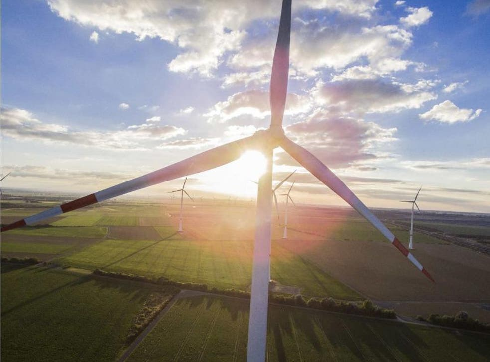 Wind turbines in action