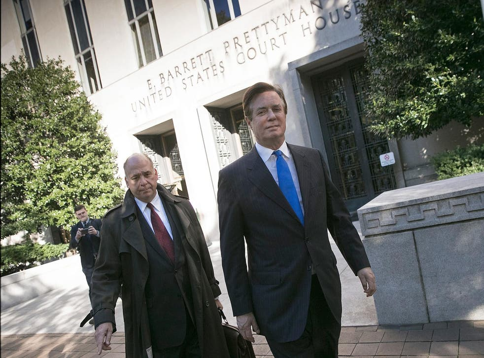 Paul Manafort (right) has pleaded not guilty to the charges against him