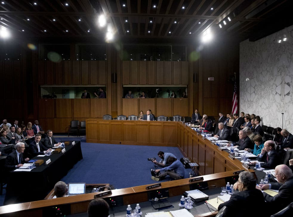 Executives from Google, Facebook and Twitter testify about Russian election interference efforts on Tuesday, Oct. 31, 2017 in Washington