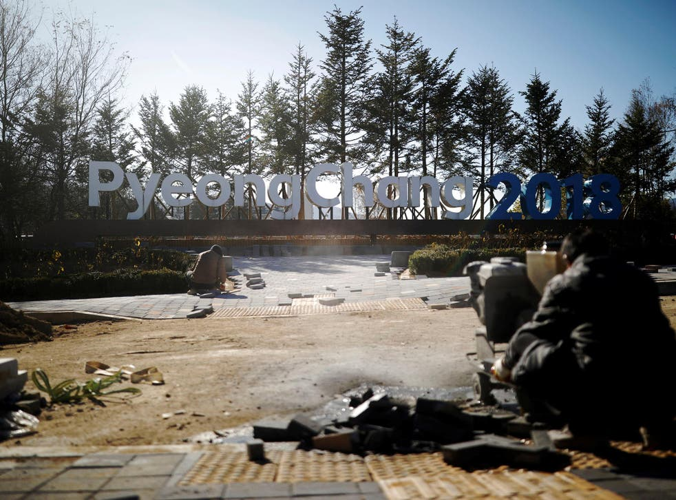Workers labour in PyeongChang at the end of last month
