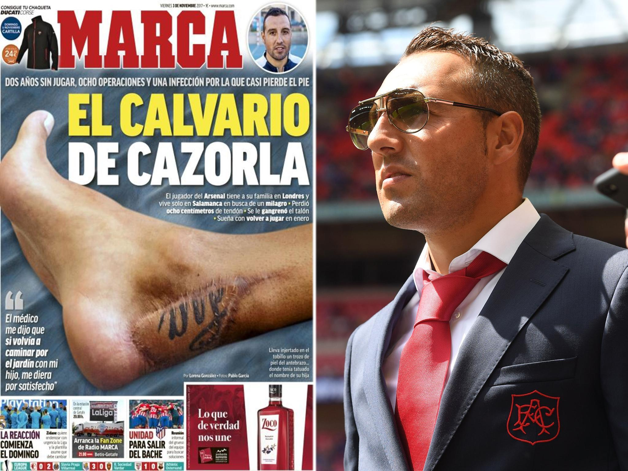 Santi Cazorla reveals gruesome scar on his ankle after undergoing