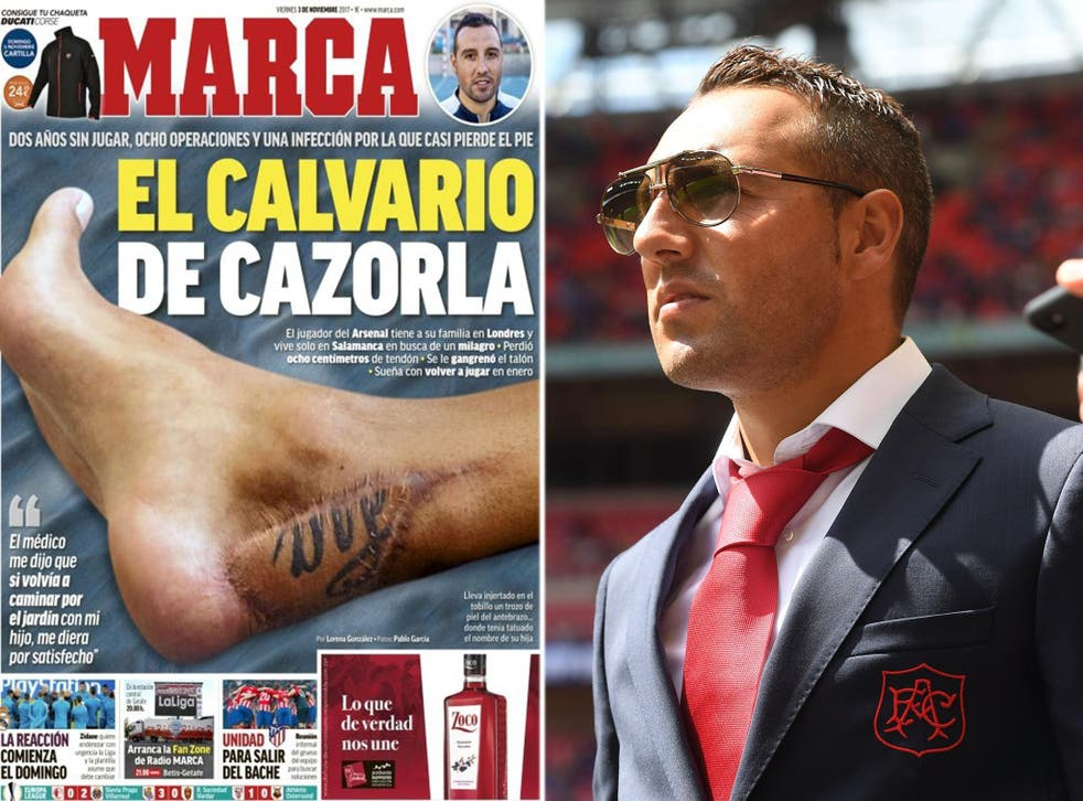 Santi Cazorla has revealed the scar left from eight operations on his ankle in an interview with Marca