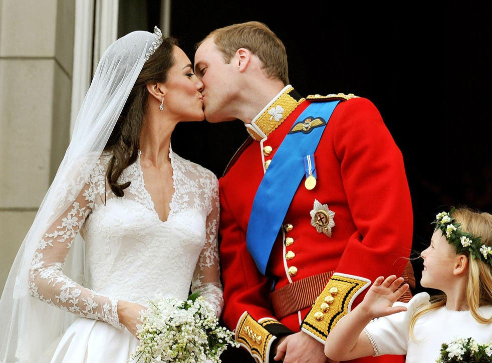 Prince William and the Duchess of Cambridge during their wedding celebrations