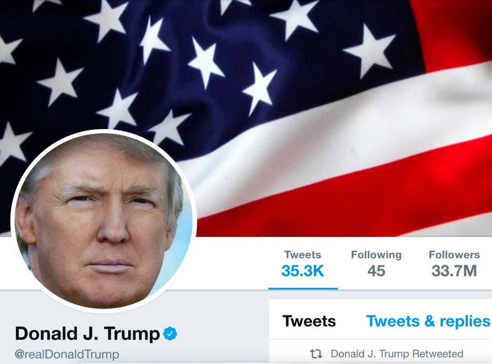 Donald Trump used his @realdonaldtrump Twitter account, seen here on July 11, 2017, to tweet his criticism of UK Prime Minister Theresa May