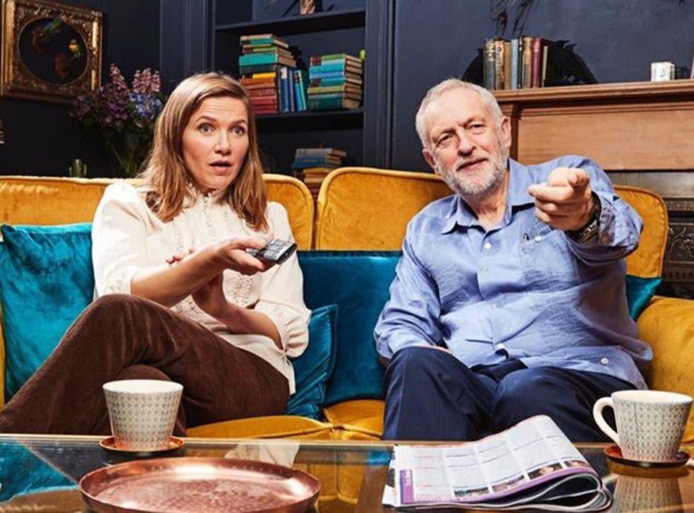 Jessica Hynes and Jeremy Corbyn on Gogglebox