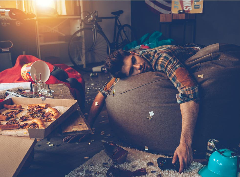 stock image of a man hungover