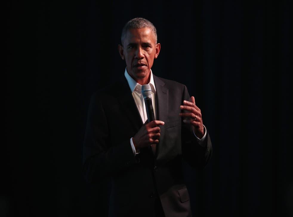Former president Barack Obama speaks at the inaugural Obama Foundation Summit