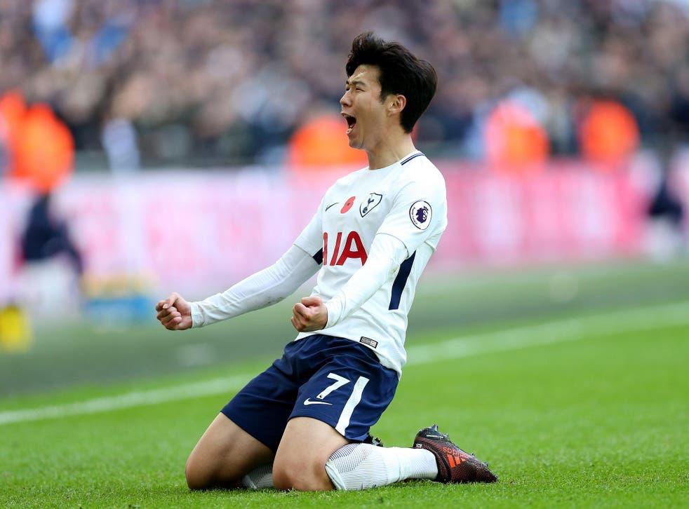 Son Heung-min celebrates scoring Tottenham's opening goal against Crystal Palace
