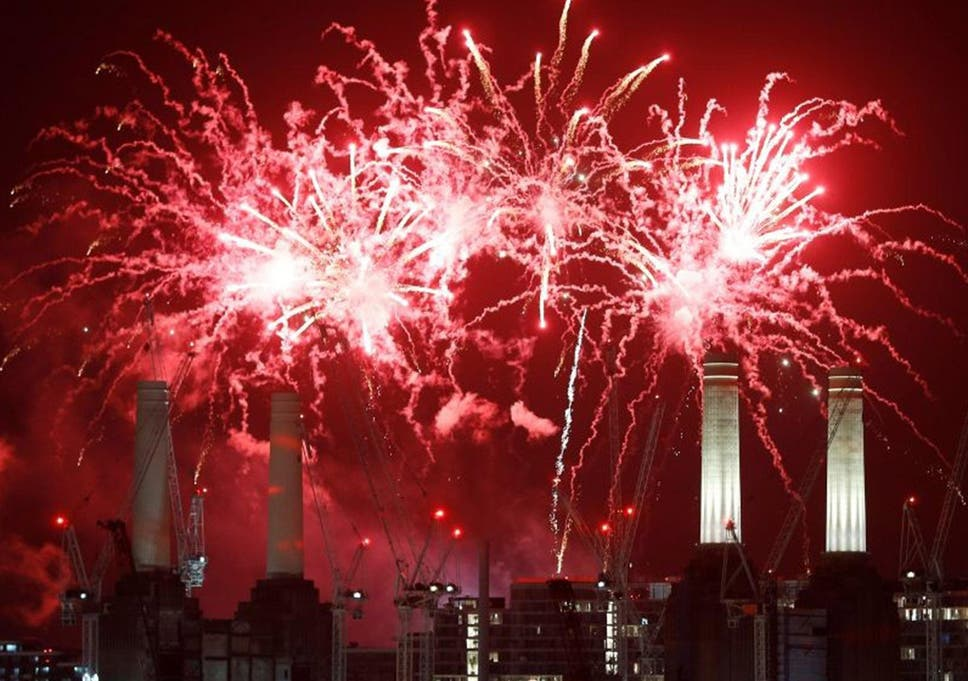 a firework display over battersea power station in south london on saturday