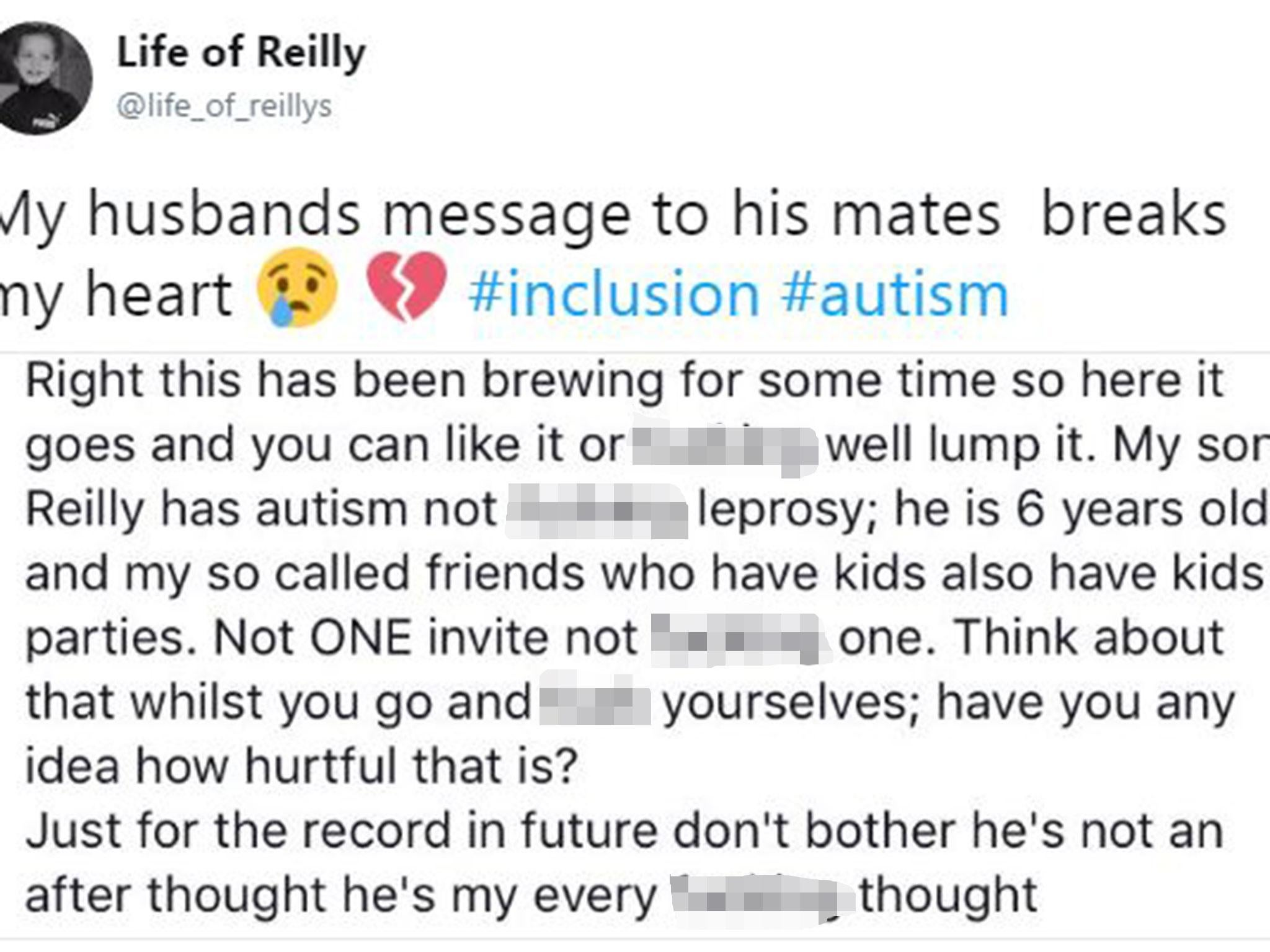 Father s heartbreaking message after autistic son wasn t invited