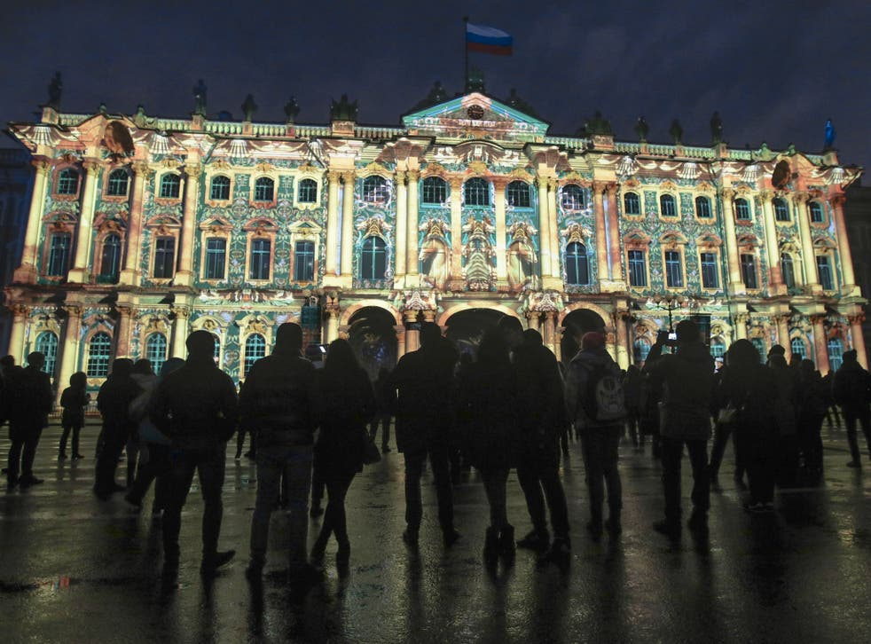 A light show marking the centenary of the Bolshevik Revolution on the Winter Palace in St Petersburg – although ensuring mass interest in the events of 1917 has been difficult