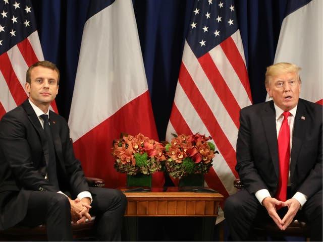 Emmanuel Macron with Donald Trump