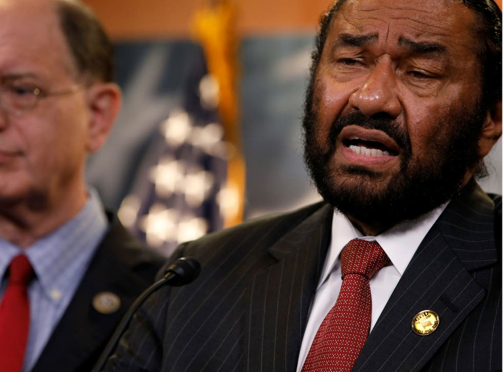 Al Green and Brad Sherman talk about plans draft articles of impeachment against Donald Trump in Washington, D.C. on June 7, 2017