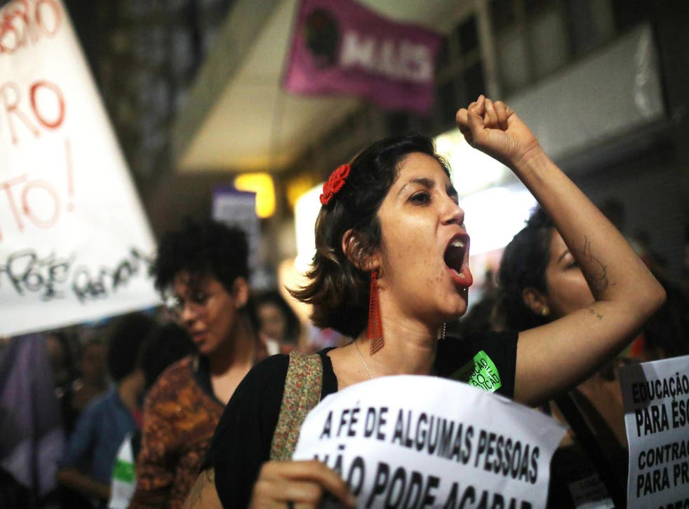 Women march for pro-choice rights in Rio de Janeiro, Brazil, on 28 September