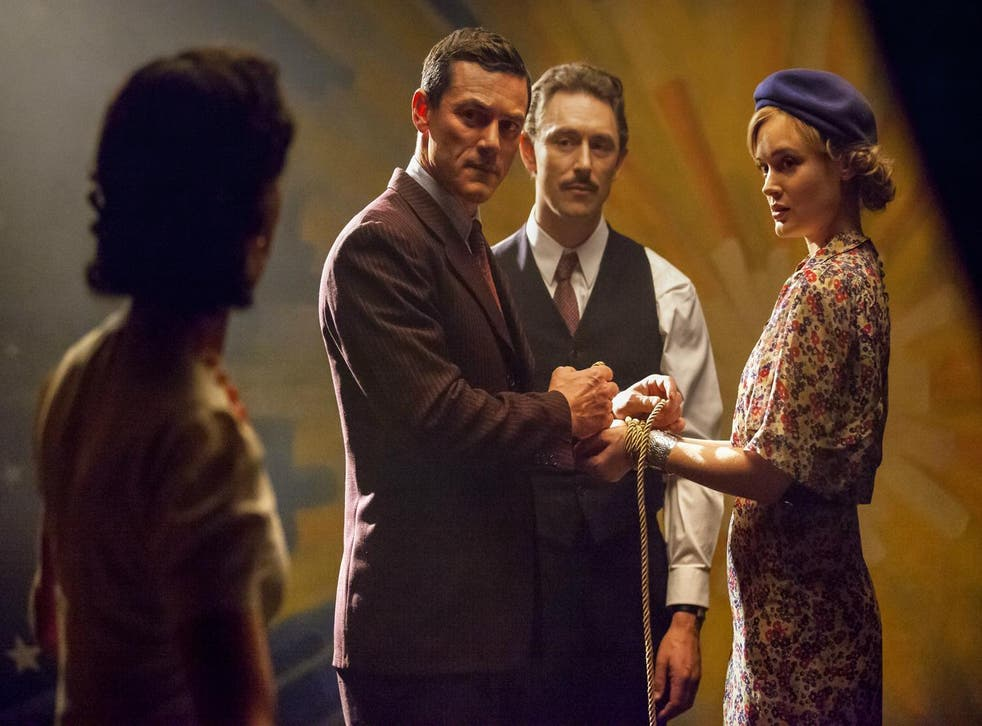 Luke Evans as William Moulton Marston and Bella Heathcote as Olive Byrne