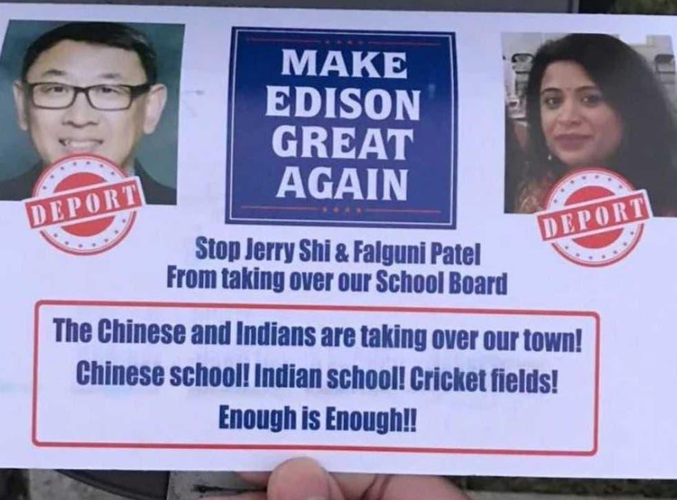 Fliers targeting Asian-American candidates Jerry Shi and Falguni Patel