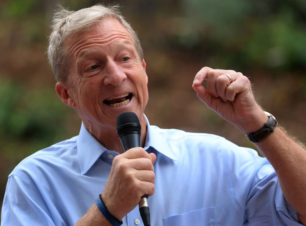 Tom Steyer, seen here at an anti-Donald Trump rally in Vista, California, on October 31, 2017, is spending big on getting Trump out of office