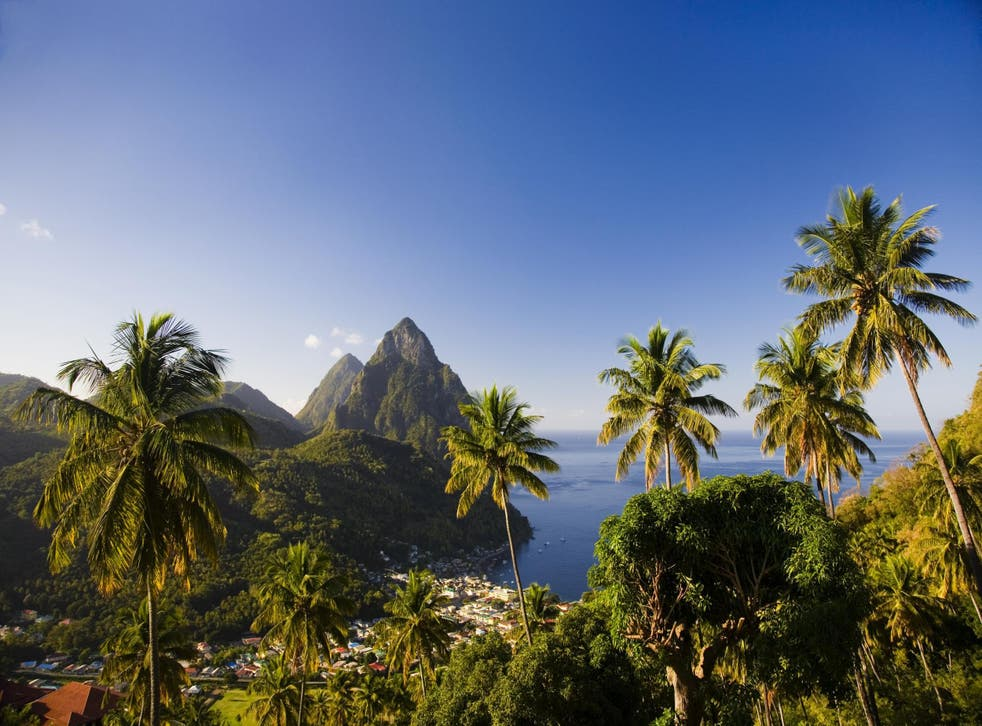 The stunning volcanic Pitons cones in St. Lucia
