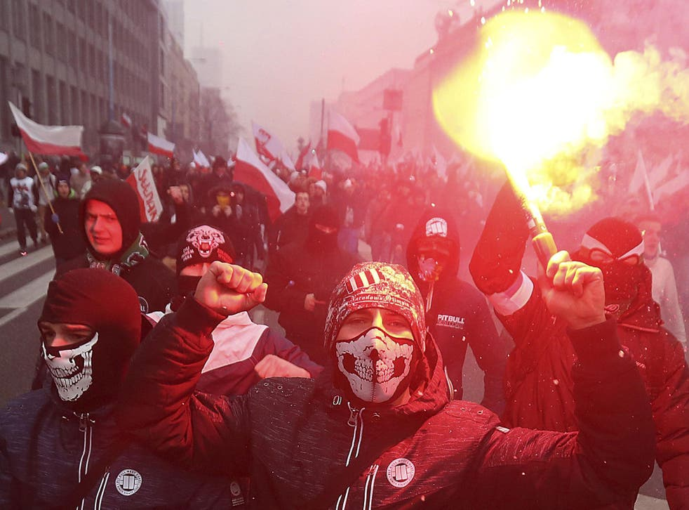 In last year's march, nationalists burned flares as they marched in large numbers through the streets of Warsaw