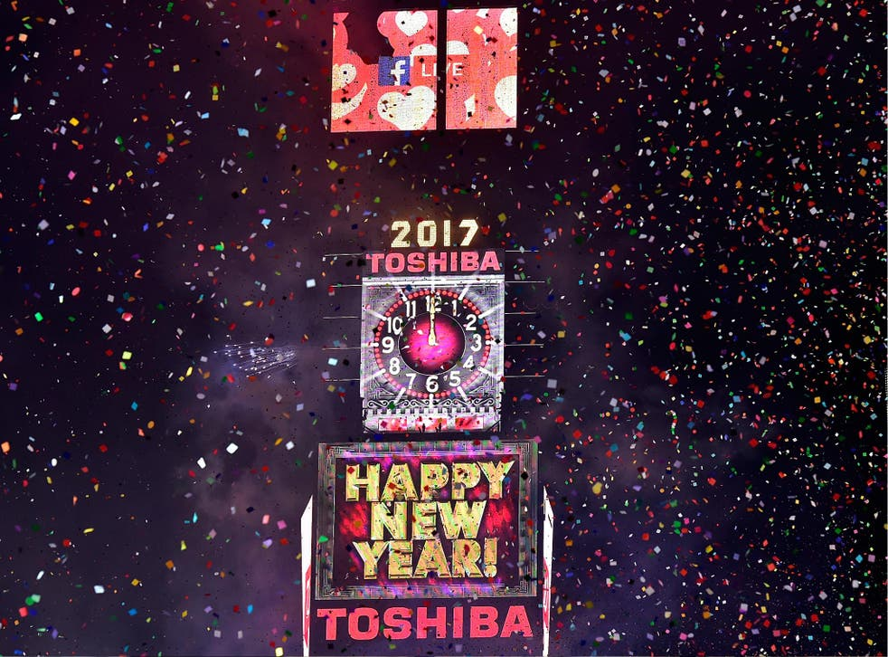 Toshiba Vision Screens during the New Year's Eve Countdown at Times Square on 1 January 2017 in New York City.