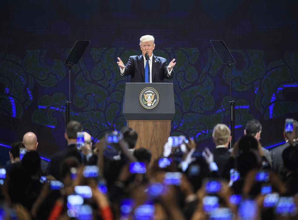 The US President speaks on the final day of the Apec summit in Da Nang, Vietnam