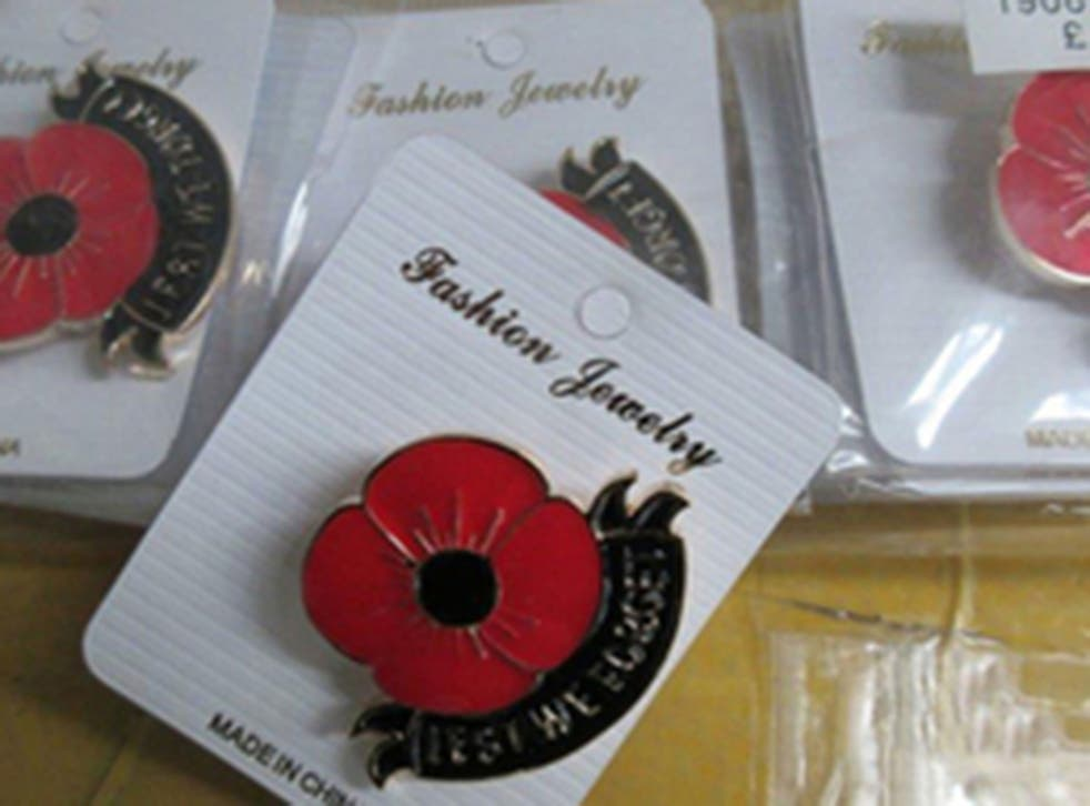 Border Force officers seized fake poppy branded jewellery, key rings and scarves estimated to be worth approximately £150,000