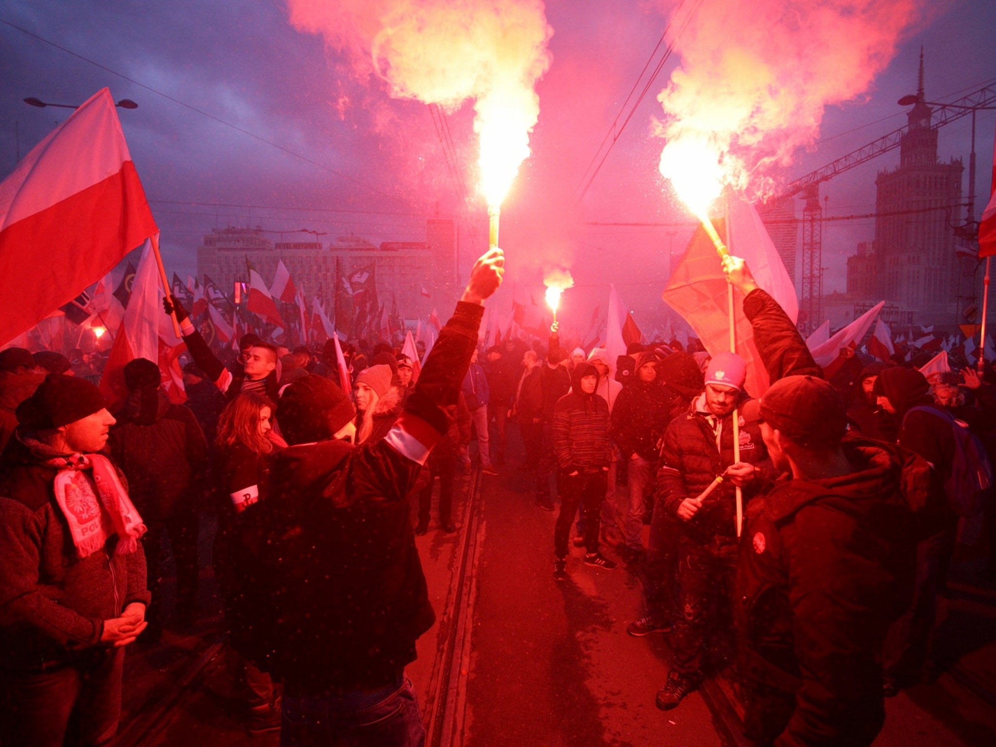 Fascists march in Warsaw for Polish Independence Day in one