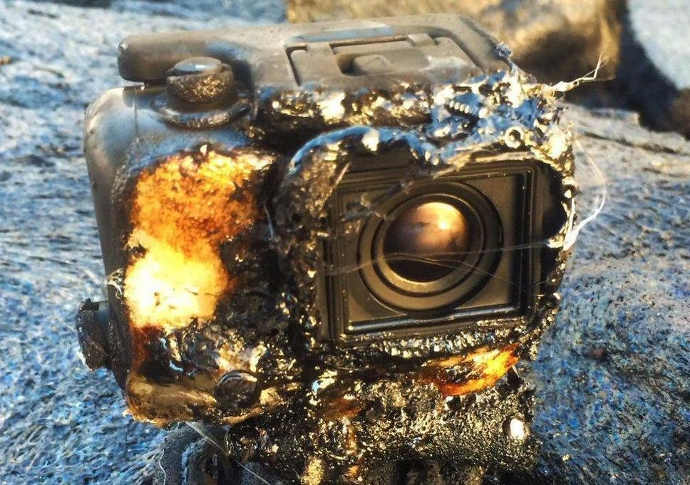 GoPro camera videos itself being swallowed up by molten lava