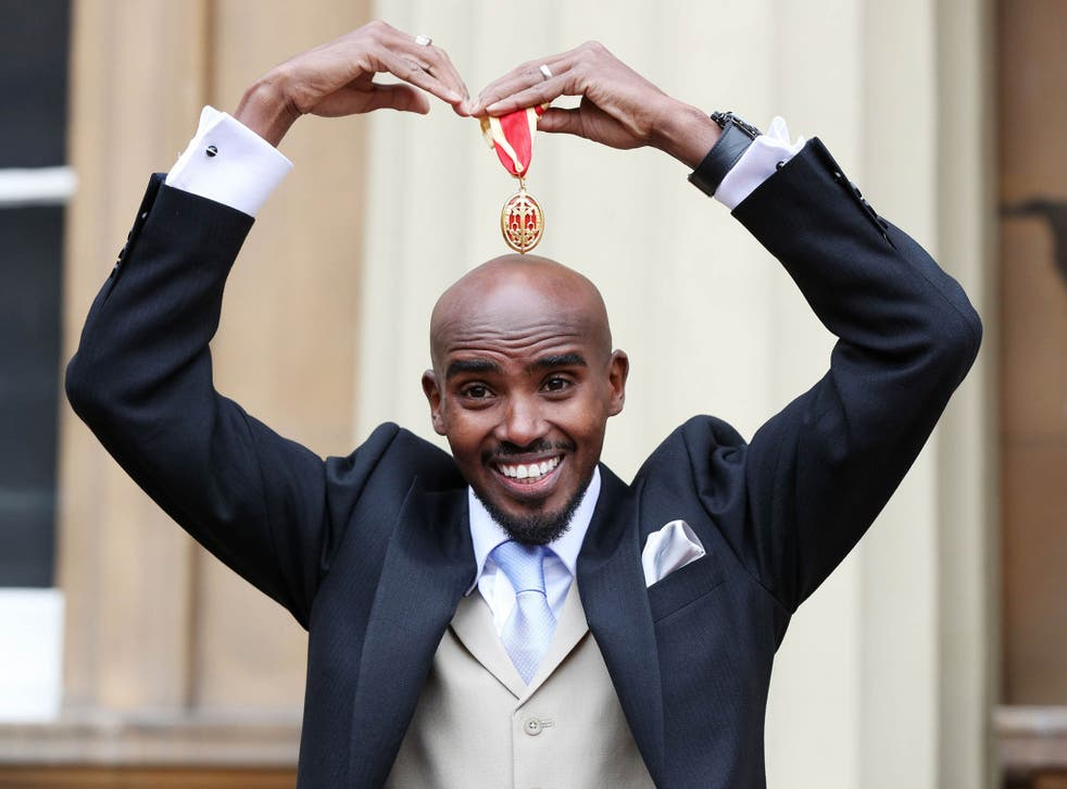 Four-time Olympic champion Sir Mo Farah after he was awarded a Knighthood by Queen Elizabeth II