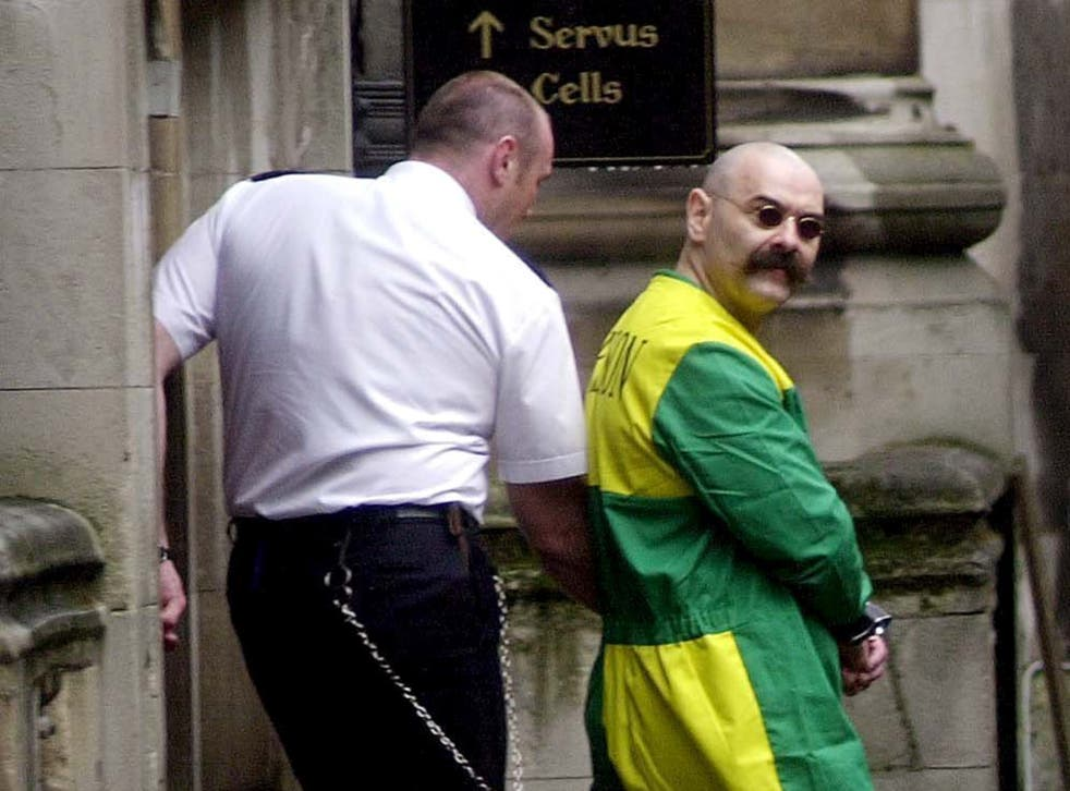 Charles Bronson outside Woodhill Prison Chapel in 2001