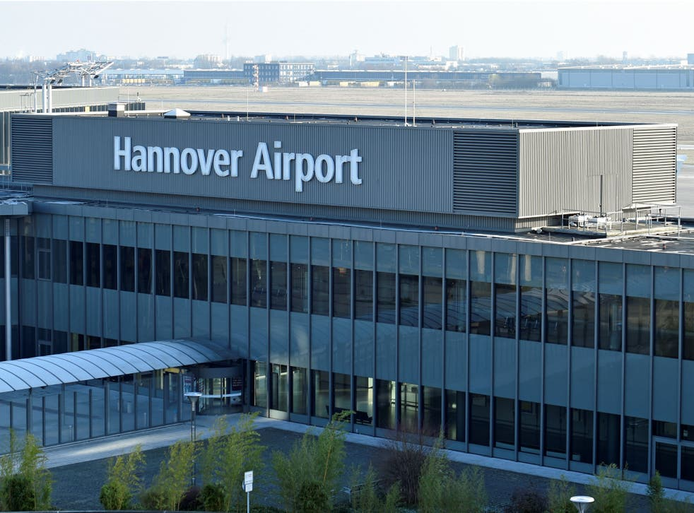 """The entrance of the """"Hannover Airport"""" is pictured in Hanover, Germany, January 26, 2017"""