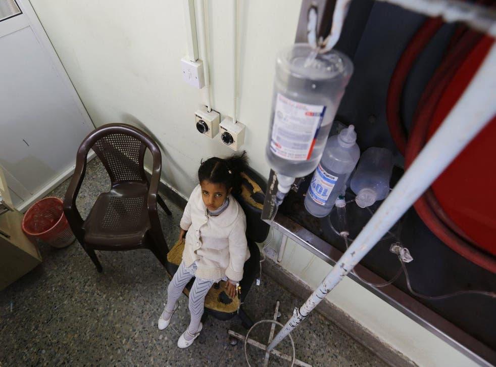 A malnourished Yemeni child receives treatment at a hospital in Sana'a, Yemen