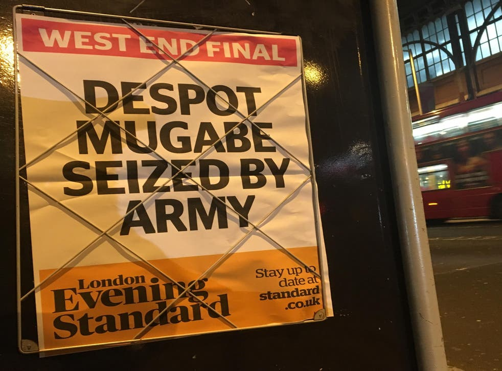 Final notice: the London Evening Standard announces the demise of the Zimbabwean dictator