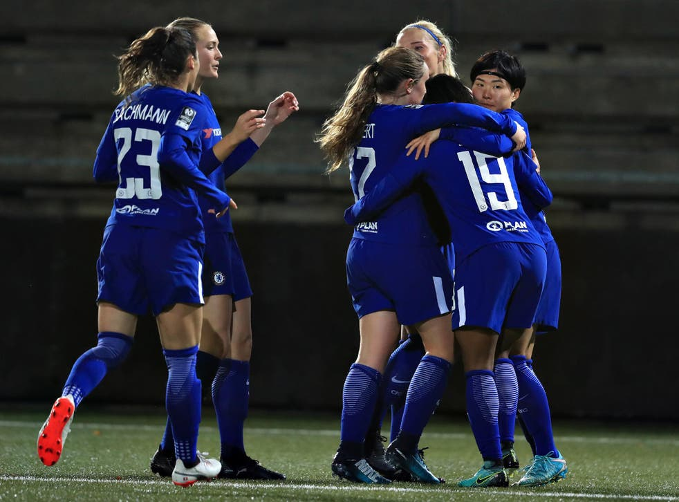 Ji So-Yun, right, celebrates with her Chelsea team-mates