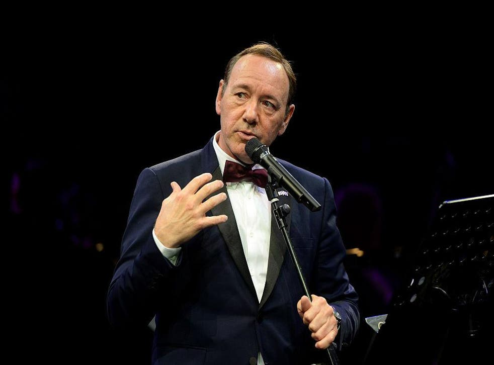Kevin Spacey gives a speech at The Old Vic Theatre for a gala celebration in his honour as his artistic director's tenure comes to an end on April 19, 2015