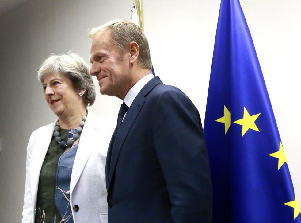 Theresa May and European council president Donald Tusk at a previous meeting