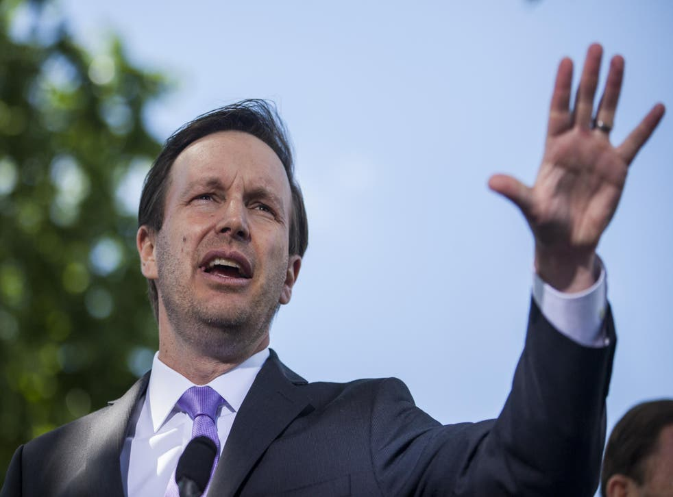 Senator Chris Murphy, who introduced the bill, speaks during a press conference