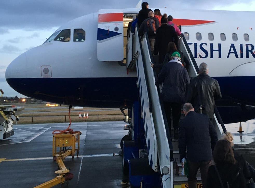 Least last: British Airways Airbus A319 boarding at London Heathrow