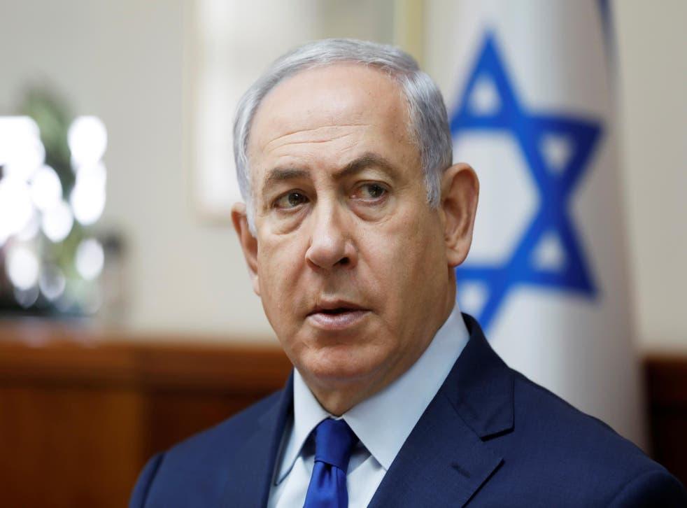 Israel's Prime Minister Benjamin Netanyahu at a weekly cabinet meeting in Jerusalem on 19 November