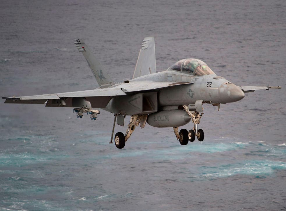 A Boeing E/A-18 Growler similar to the one used draw the giant phallic image