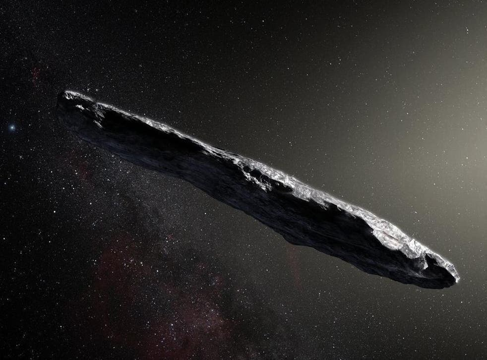 Artist's concept of interstellar asteroid 1I/2017 U1 ('Oumuamua) as it passed through the solar system after its discovery in October 2017. The aspect ratio of up to 10:1 is unlike that of any object seen in our own solar system