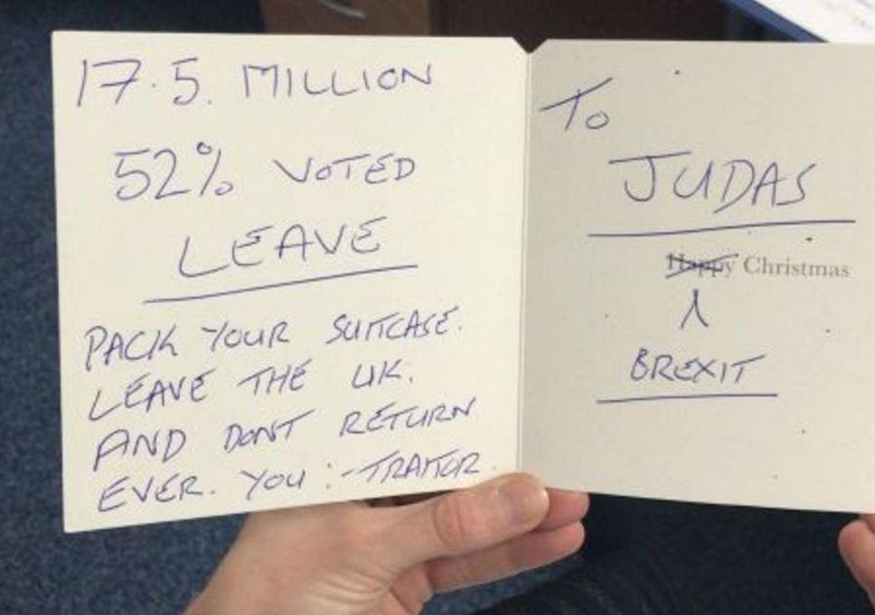 Happy Brexit: MPs reveal abusive festive cards received | The ...