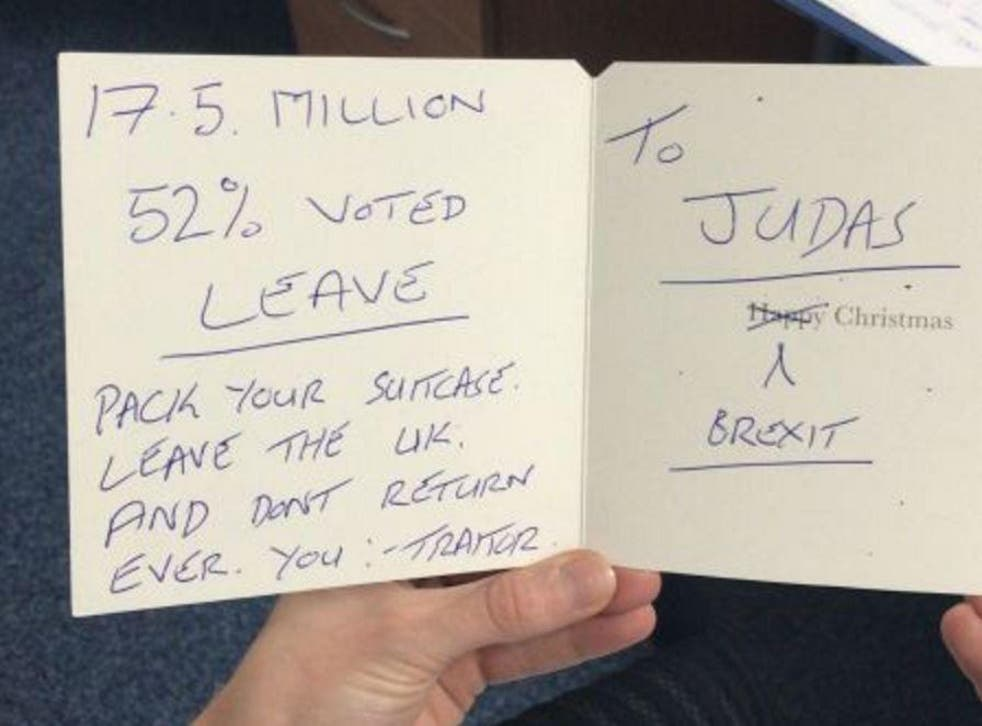 'Pack your suitcase. Leave the UK' The card MSP Paul Masterson received