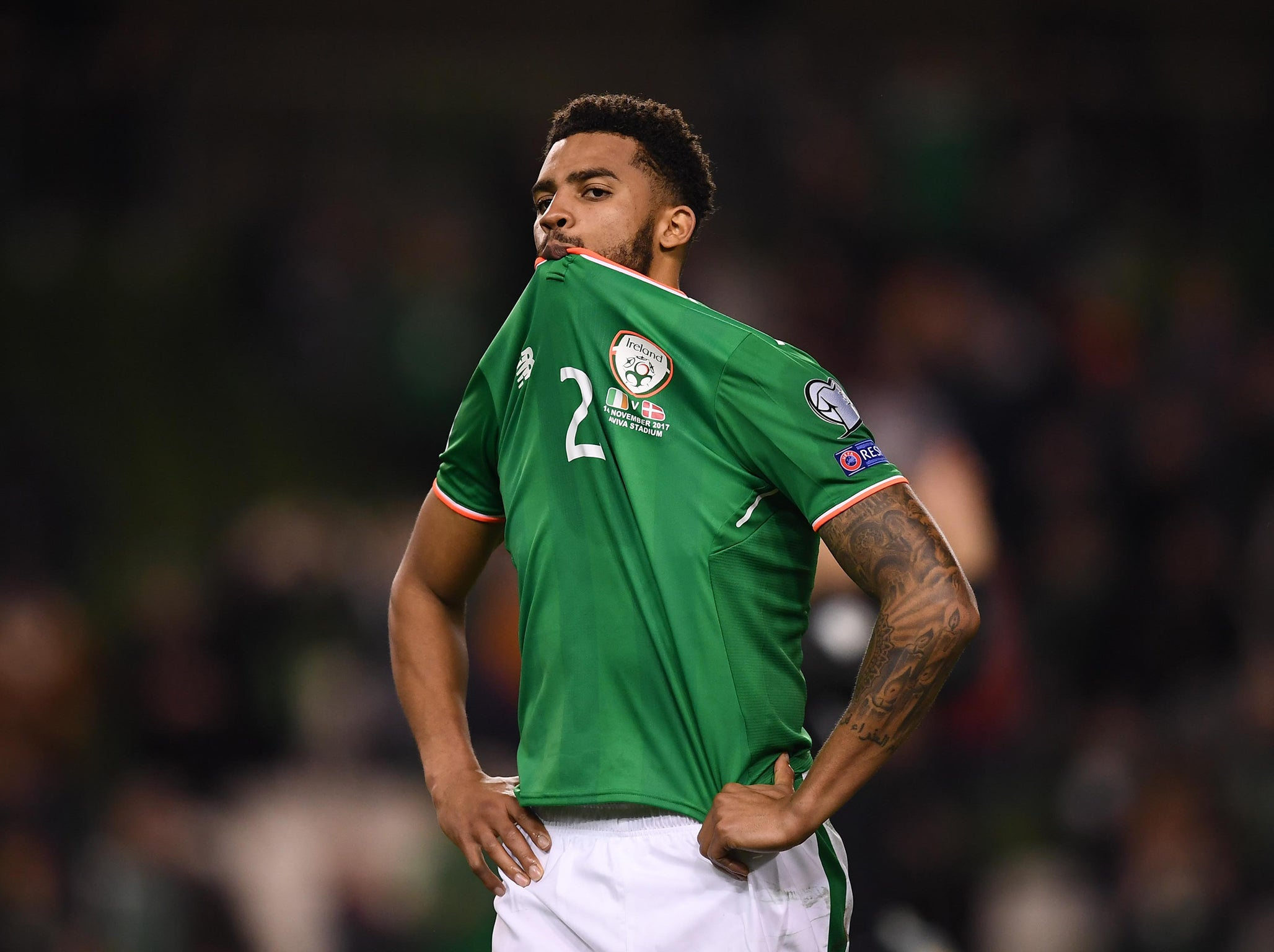 Republic of Ireland defender Cyrus Christie the target of racist abuse after World Cup play-off loss