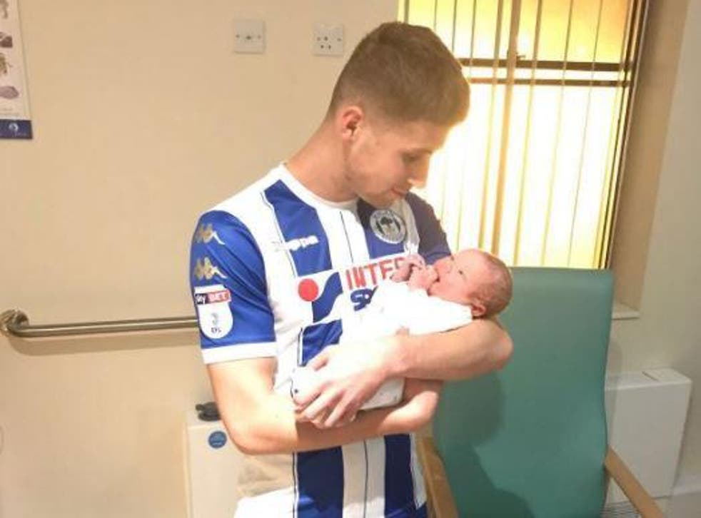 Ryan Colclough dashed away from the game just in time to see his child being born