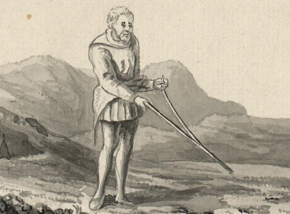 A depiction of a divining rod in use in Britain during the late 18th century, from a volume by Thomas Pennant