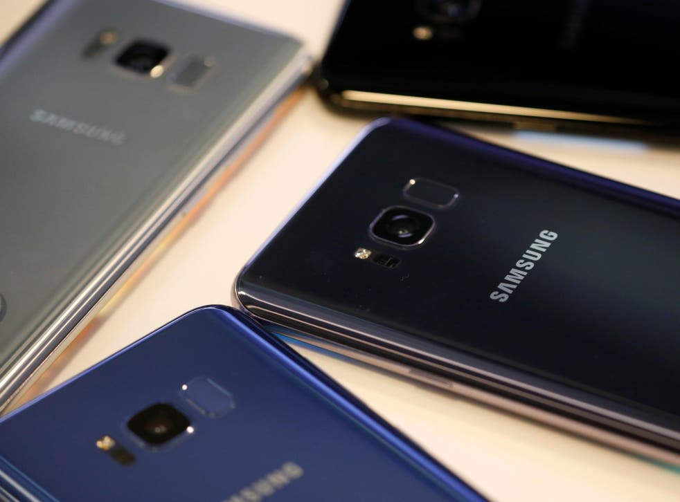 Samsung Electronics' Galaxy S8 smartphones are displayed during a media event at a company's building in Seoul, South Korea, April 13, 2017